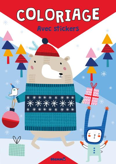 COLORIAGE AVEC STICKERS (NOEL, OURS)